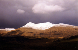 View of Ben Cruachan from self catering by Loch Awe Scotland